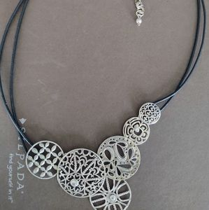 Silpada Black & Sterling Silver Filigree necklace